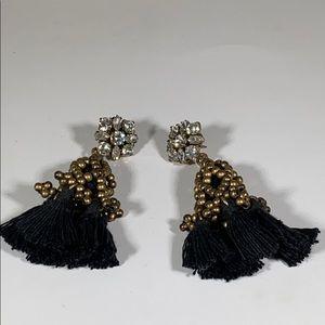J. Crew black tassel rhinestone earrings